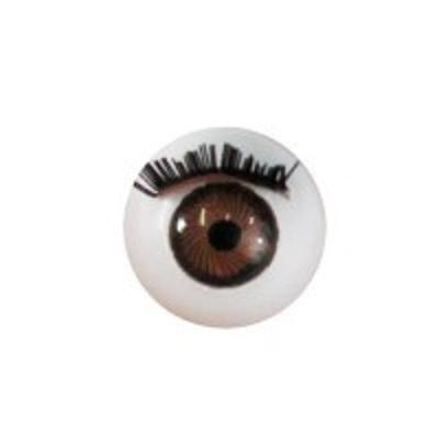 Глазки для кукол с ресничками карие  диам.12 мм