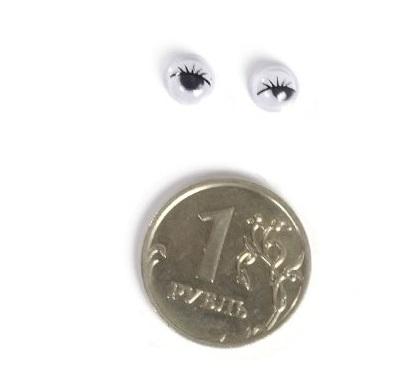 Глазки бегающие с ресничками 6 мм. белые