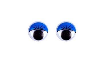 Глазки бегающие с ресничками 8 мм. голубые