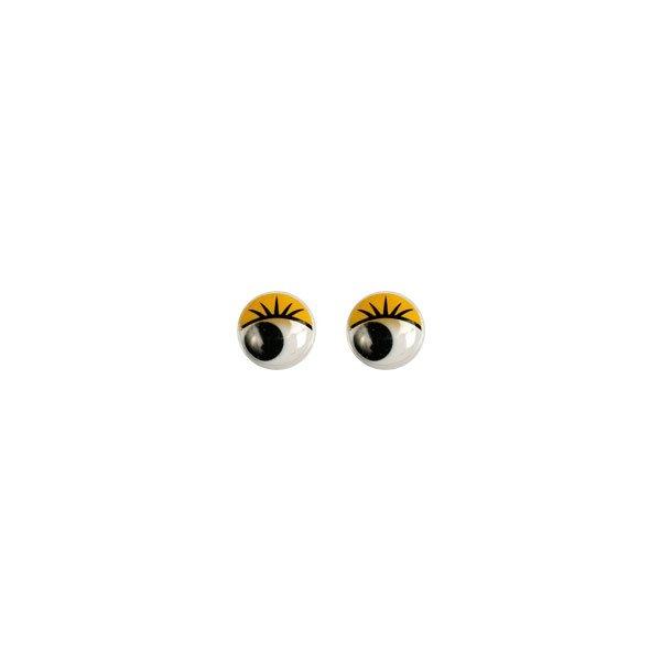 Глазки бегающие с ресничками 12 мм. желтые