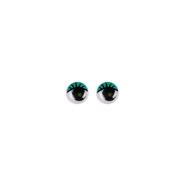 Глазки бегающие с ресничками 12 мм. зелёные