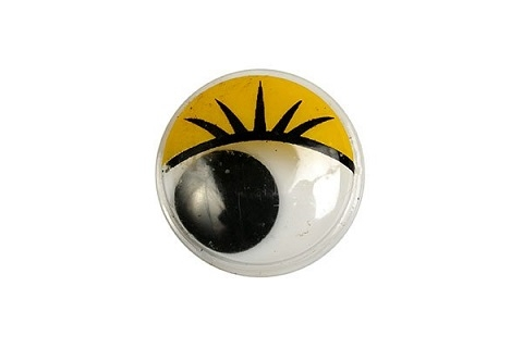 Глазки бегающие с ресничками 20 мм. жёлтые