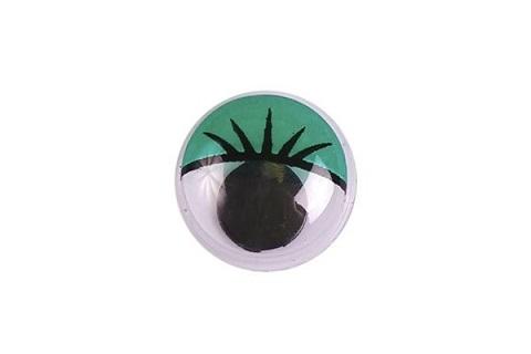 Глазки бегающие с ресничками 20 мм. зелёные