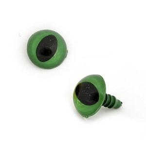 Глаза кошачьи 12 мм (на ножке, с креплением) зелёные