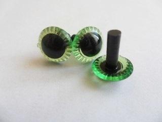 Глаза винтовые с зеленой радужкой, 12 мм