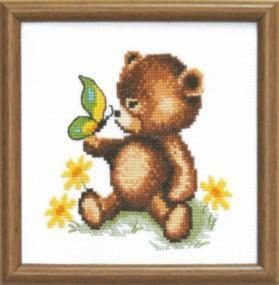 """Набор для вышивания крестом """"Чаривна Мить""""А № 121 медвежонок с бабочкой 15*15"""