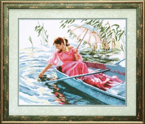 """Набор для вышивания крестом """"Чаривна Мить""""А № 153 В лодке 36,5*29"""