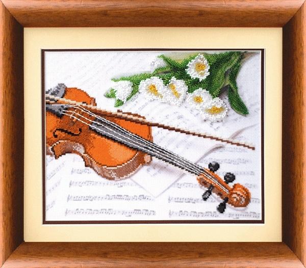 Скрипка М - 42 смешанняа техника на тонированной канве/feyamagazin.ru