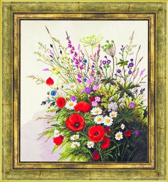 """Набор для выш. крестом """"Чаривна Мить"""" М №119 Полевые цветы 40*45 смешанная техника (мулине+бисер)"""