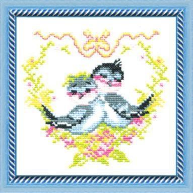 Набор для вышивки крестиком №185 Влюбленные птички