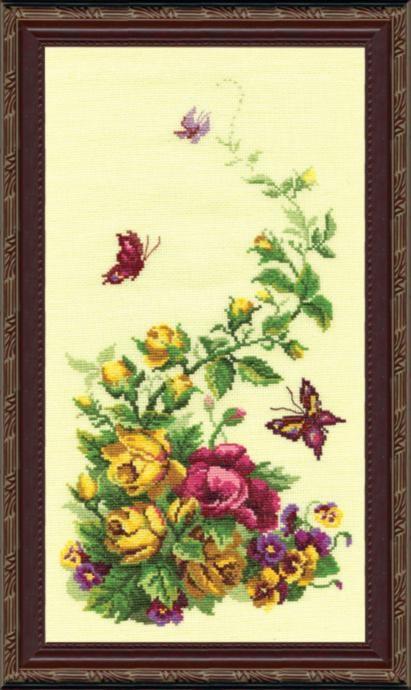 """Набор для вышивания крестом """"Чаривна Мить"""" № 215 Букет с розами 22*41"""