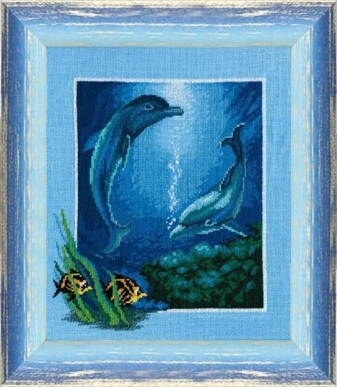 """Набор для вышивания крестом """"Чаривна Мить"""" № 276 Дельфины 25*30"""