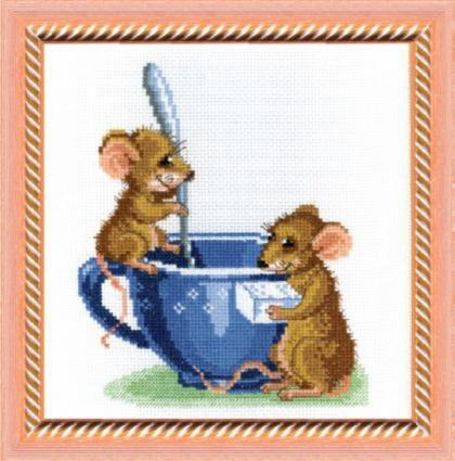 """Набор для вышивания крестом """"Чаривна Мить"""" № 278 Мышки в чашке 21*21"""