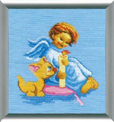 """Набор для вышивания крестом """"Чаривна Мить"""" № 280 Ангелочек с котом 16,5*25,5"""