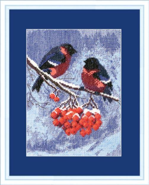 """Набор для вышивания крестом """"Чаривна Мить"""" № 283 Снегири на рябине 18*24"""