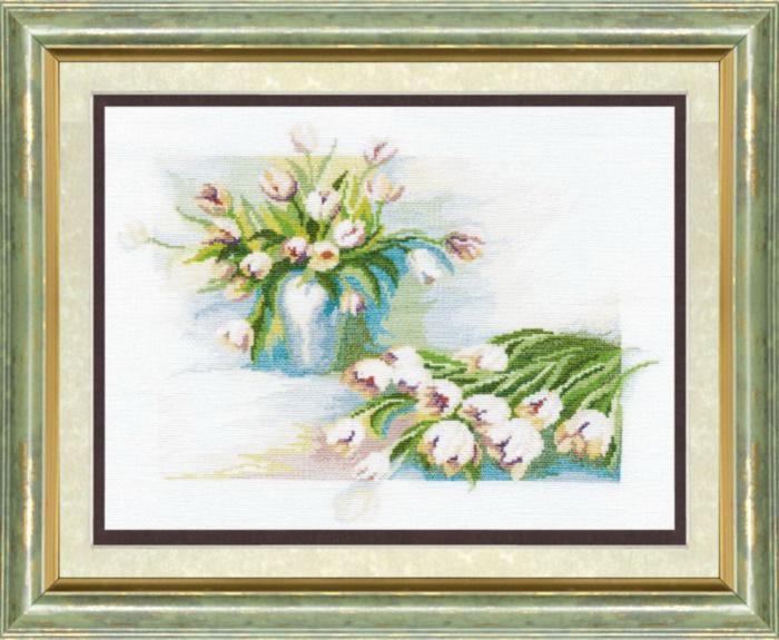 """Набор для вышивания крестом """"Чаривна Мить"""" № 284 Белые тюльпаны 26*35"""
