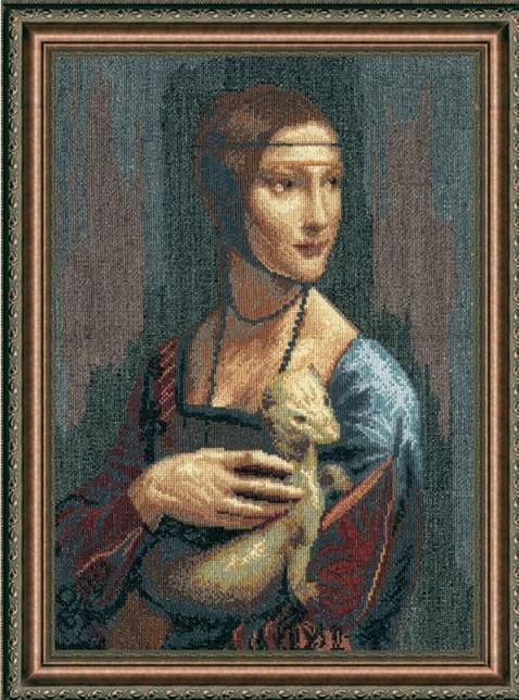Набор для вышивки крестиком №295 По мотивам Леонардо да Винчи Дама с горностаем