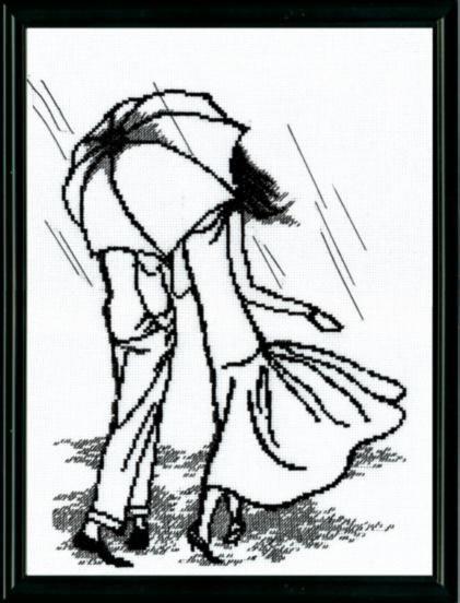 Набор для вышивки крестиком №363 Прогулка под дождем