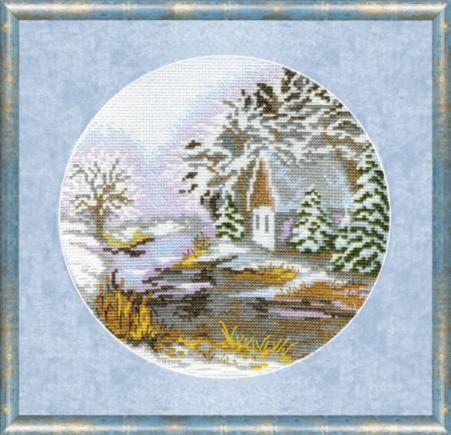 """Набор для вышивания крестом """"Чаривна Мить"""" № 370 Зимний пейзаж 19*19"""
