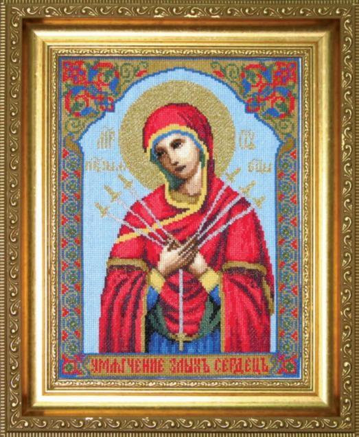 Набор для вышивки крестиком №403 Икона Образ Пресвятой Богородицы Семистрельная