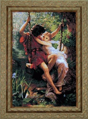 Влюбленные на качели 481 37x55 см Набор для вышивки крестиком №481 По мотивам западноевропейской живописи/feyamagazin.ru