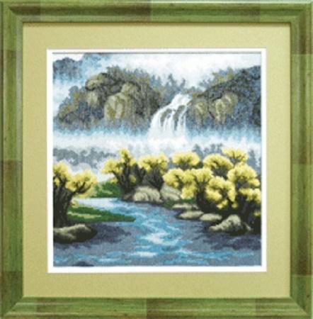 """Набор для вышивания крестом """"Чаривна Мить"""" № 486 Осенний водопад 25*25"""