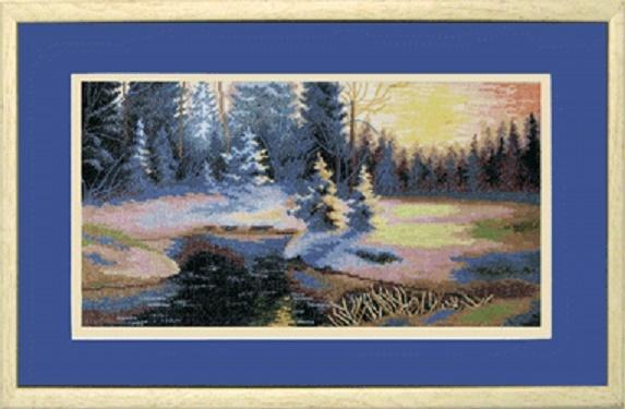 """Набор для вышивания крестом """"Чаривна Мить"""" № 529 Зимний пейзаж 33,5*18"""