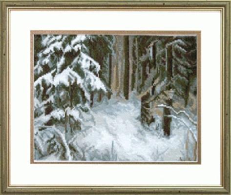 """Набор для вышивания крестом """"Чаривна Мить"""" № 532 Сугробы в лесу 25*19"""