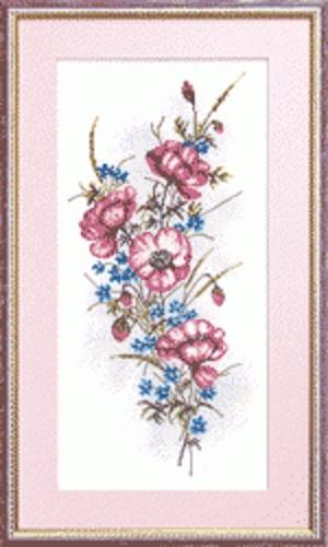 """Набор для вышивания крестом """"Чаривна Мить"""" № 561 Маки с васильками 19*39"""