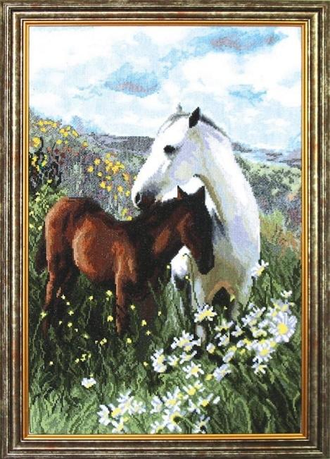 """Набор для вышивания крестом """"Чаривна Мить"""" № 573 Лошадь в ромашках 33*54"""
