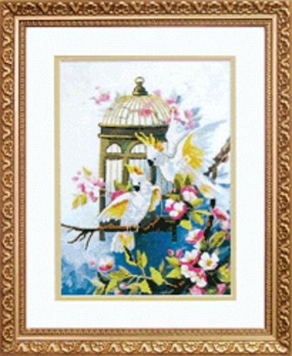 """Набор для вышивания крестом """"Чаривна Мить"""" № РК -052 Свободу попугаям 18*24,5"""