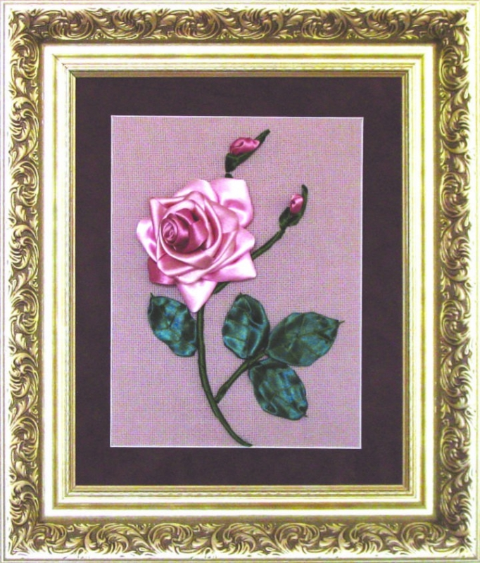Л- 006 набор для вышивания лентами Роза 19*25