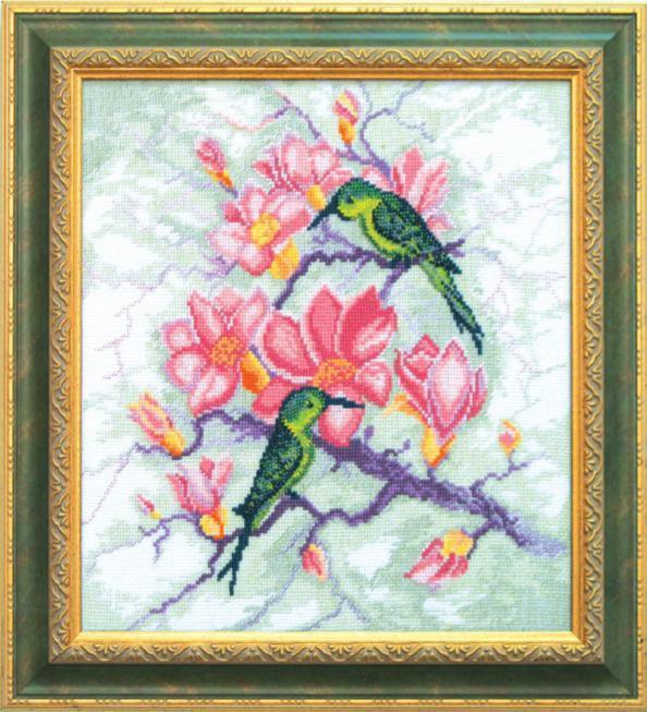 """Набор для вышивания крестом """"Чаривна Мить"""" № СТ -14 Птицы на цветущей ветке 27*5*31 смешанная техника (мулине +бисер)"""