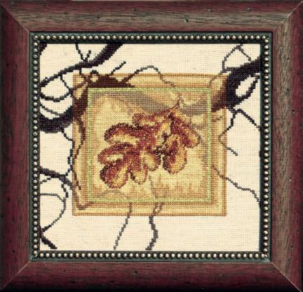 """Набор для вышивания крестом """"Чаривна Мить"""" № СТ -24 дубовые листья 18*17 смешанная техника (мулине +бисер)"""
