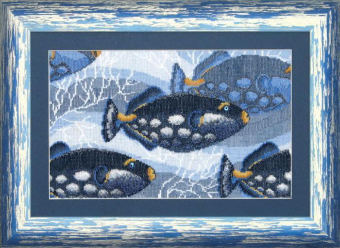 """Набор для вышивания крестом """"Чаривна Мить"""" № СТ -28 Синие рыбы 31*18,5 смешанная техника (мулине +бисер)"""