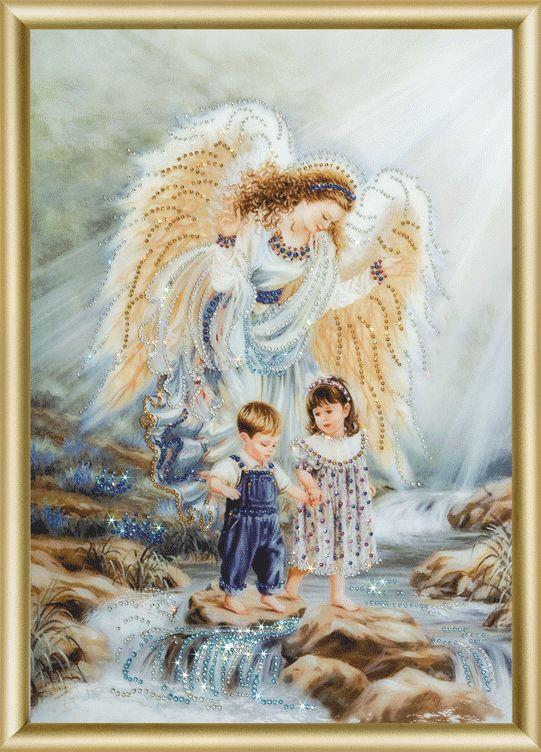 КС-038 картина стразами Ангел и дети/feyamagazin.ru