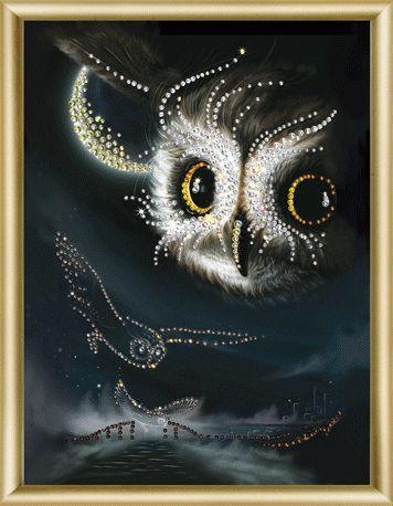 """Набор картина стразами Чарівна Мить КС-042 """"Ночной полет""""/feyamagazin.ru"""