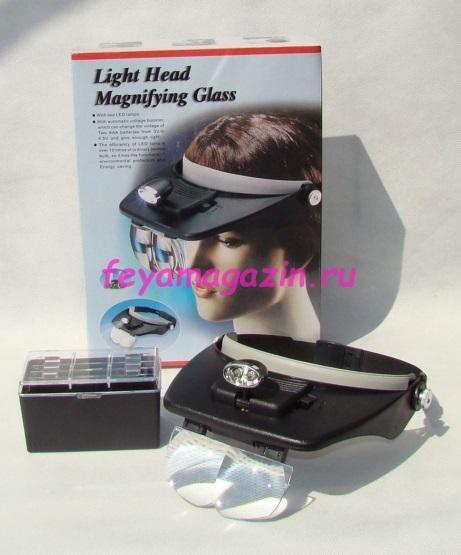 Лупа-кепка с подсветкой, со сменными линзами