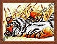 Тигр на отдыхе (набор для вышивания крестом)