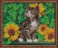 Котёнок в подсолнухах (набор для вышивания крестом)