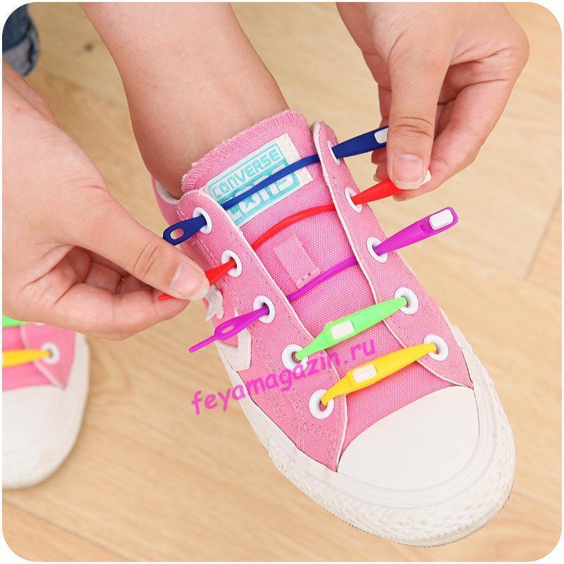 шнурки силиконовые цветные для обуви/feyamagazin.ru
