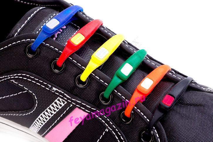 Шнурки силиконовые цветные для обуви