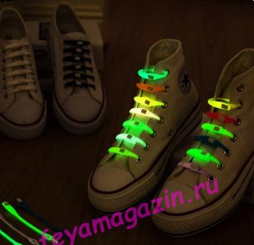 Шнурки силиконовые, светящиеся в темноте/feyamagazin.ru