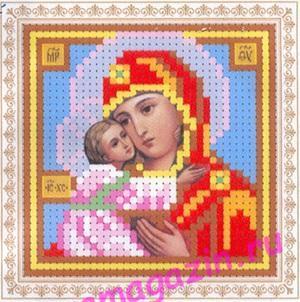 мини Образ Владимирской Богоматери (ББ-046)  набор для вышивки бисеромна искусственном шелке/feyamagazin.ru
