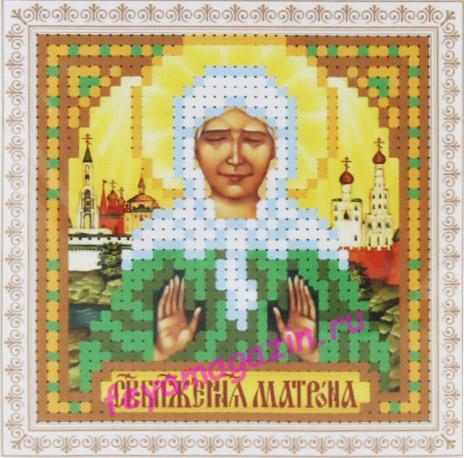 мини Образ Блаженная Матрона Московская (ББ-314)  набор для вышивки бисеромна искусственном шелке/feyamagazin.ru