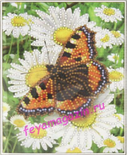 Бабочка с ромашкой (ББ-032) (набор для вышивки бисеромна искусственном шелке)/feyamagazin.ru