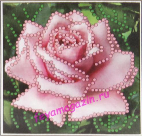 Розовая роза (бисер 030) (набор для вышивания бисером)/feyamagazin.ru
