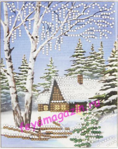 Зима (ББ-043) (набор для вышивки бисеромна искусственном шелке)/feyamagazin.ru