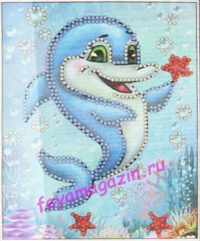 Дельфинчик (ББ-045) (набор для вышивки бисеромна искусственном шелке)/feyamagazin.ru