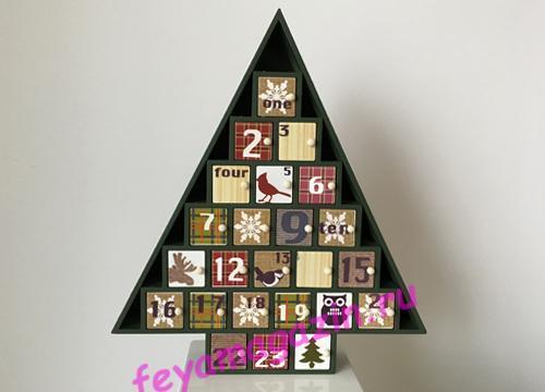 Деревянный адвент календарь «Новогодняя ёлка»/feyamagazin.ru